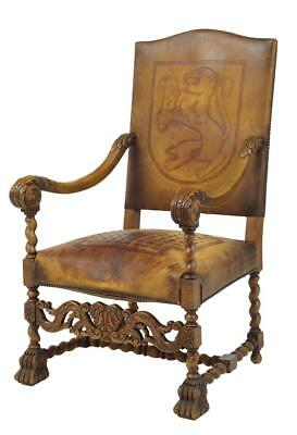 Rare Carved French Walnut And Leather Coat Of Arms Armchair