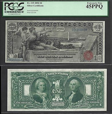 $1 1896 Silver Certificate==educational==fr. 225==pcgs Extremely Fine 45 Ppq