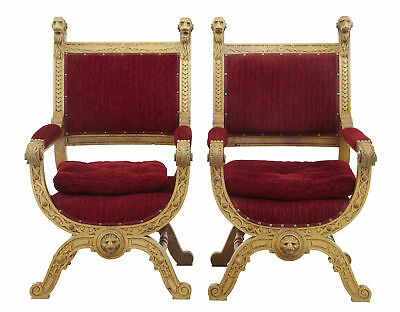 Pair Of 19th Century Flemish Light Oak Carved Throne Armchairs
