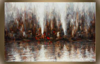 """Victor Zag - Reflected View- Cityscape Painting - Giclee Reproduction 30""""x60"""""""