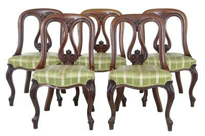 Fine Set Of 5 19th Century Early Victorian Carved Mahogany Dining Chairs