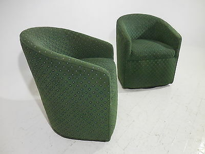 2 Baughman Directional Compact Barrel Back Lounge Swivel Chairs Mid Century Mod
