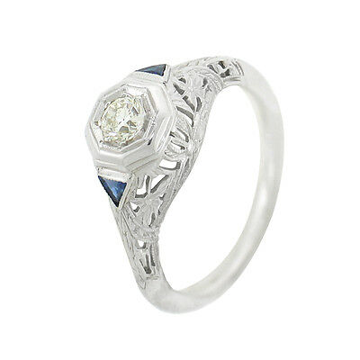 Vintage 0.70ctw Round Diamond W/ Sapphire Ladies Engagement Ring 18k White Gold