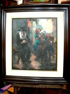 Large Framed Signed Ferenci Judaica Oil On Canvas Jewish  Shteitel Theme