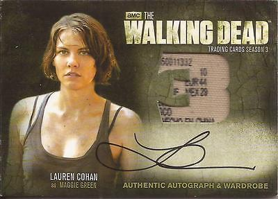 2014 Walking Dead Season 3 Autograph Wardrobe Variant Am2 Lauren Cohan 1/1 Tag