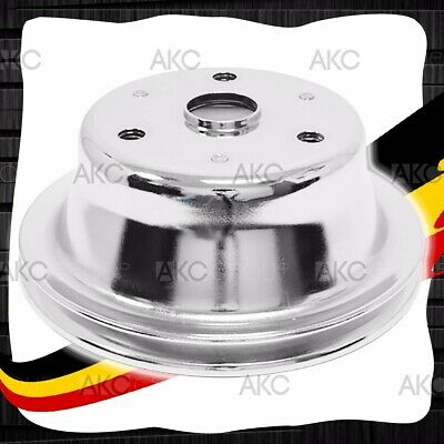 1 Groove Chrome Steel Crankshaft Pulley For 69-85 Chevy Sb With Long Water Pump