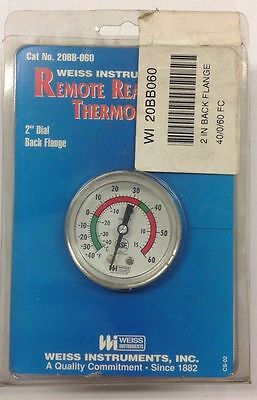 ~discount Hvac~ 20bb060 - Weiss Remote Reading Dial Thermometer - Back Flange
