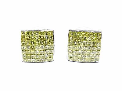 14k White Gold 5ct Princess Cut Canary Diamond Invisible Setting Square Earrings