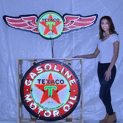 """Lot Of 2 Steel Neon Signs  38"""" Texaco Oil And Gas  Marquee And 36"""" Sky Chief"""