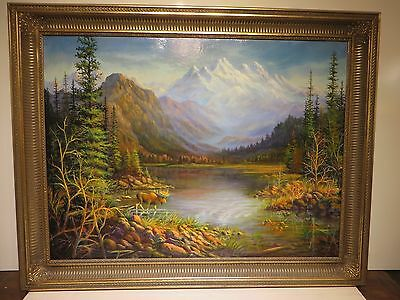 30x40 Org. Swantner Under Dalhart Winburg Oil Painting On Canvas: Moose Country