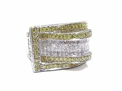 14k White Gold Prong & Invisible Set 4.00ct White & Canary Diamond Ring