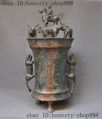 Old China Bronze Man Ride Horse Bull Oxen Beast Food Vessel Ware Pot Crock Jug