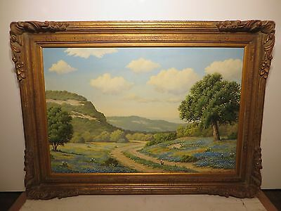 """24x36 Original Oil Painting By Judy Gibson """"texas Bluebonnet Hill Country"""""""