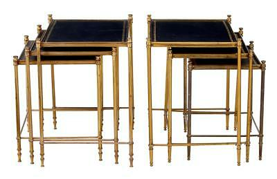 Near Pair Of 20th Century Brass And Leather Nesting Tables