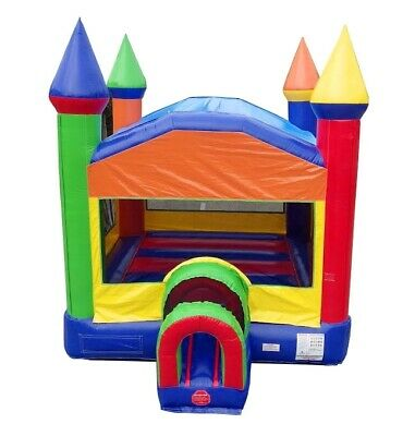 Rainbow Compact Commercial Inflatable Bounce House Kids Jump House With Blower