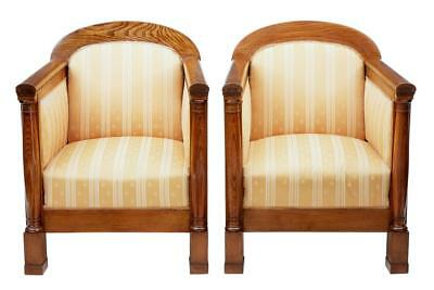Pair Of Early 20th Century Scandinavian Elm Armchairs
