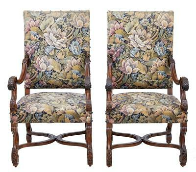 Pair Of French 19th Century Carved Walnut Armchairs