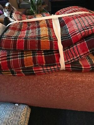 Pottery Barn Plaid King Quilt With Shams- New