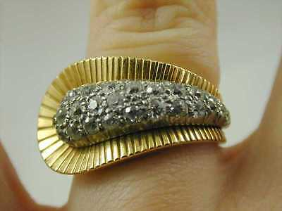 Diamond Cluster Ring 18ct Gold  1.20 Carats Size N 1/2 40s Retro