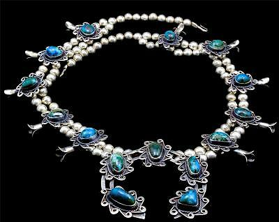 Vintage Chrysocolla Squash Blossom Necklace Mexico Sterling Silver Amazing Huge