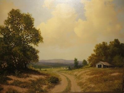"""30x40 Original 1950 Oil Painting By R. D. Enright Of """"texas Country Road"""""""