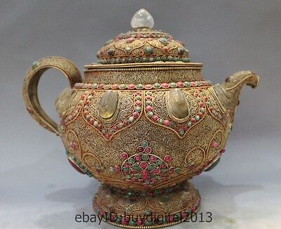 """13"""" Marked Chinese Dynasty Palace Crystal 24k Gold Silver Gem Wine Tea Pot Flago"""