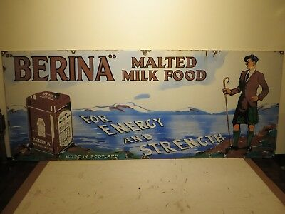24x60 Rare Original Berina Scottish Malted Foods Porcelain Advertising Sign