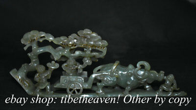 """13.6"""" Old Chinese Nephrite Hetian Jade Bull Oxen Pull Tongzi Bou Wealth Statue"""