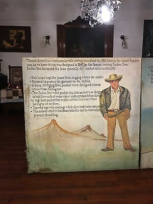 Rodeo Ben Cowboy Vintage Wrangler Levis Lee Jeans Canvas Poster Painting Sign