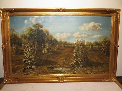 "24x40 Original 1931 Oil Painting By H. Moore Langston Of ""the Hazel Caru Fields"""