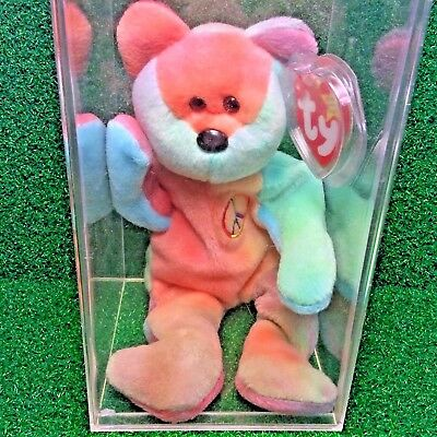 Super Rare Pvc Peace Bear 1996 Retired Ty Beanie Baby Mwmt Genuine Major Errors