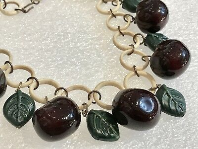 Vintage Celluloid And Early Plastic Cherries & Leaves Necklace