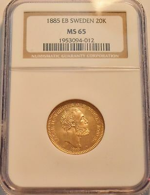 1885 Eb Sweden 20k Ngc Ms65 Gold Sweden 20 Kronor.mintage Only 6.250! Very Rare!