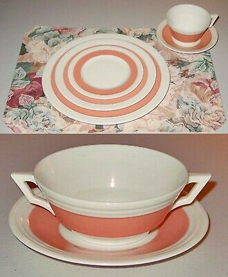 Rare!! Antique Lenox China 3 Step Coral 84 Pc  Set Of 12 -7 Pc  Place Settings