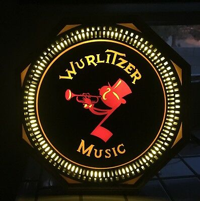 rare authentic vintage wurlitzer music spinner sign glass face motorized lighted