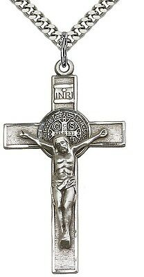 Mens Sterling Silver St. Benedict Crucifix Pendant Necklace 24 Inch 1.7mm Chain