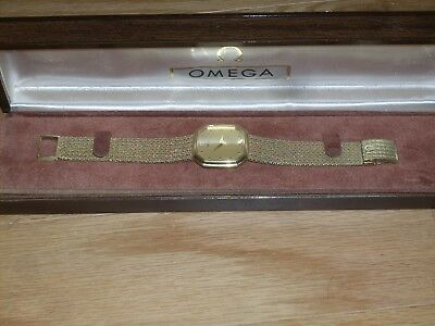 vintage omega 14k solid gold mesh band wind up watch in excellent condition