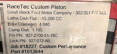 Race Tec Custom Small Block Ford 427ci -15.2cc  4.040 Reverse Dome Pistons 351w