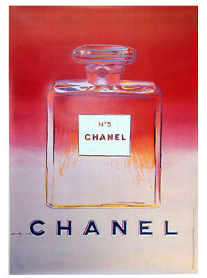 Original Vintage Chanel No5 Perfume Poster Pink - By Artist Andy Warhol 1997
