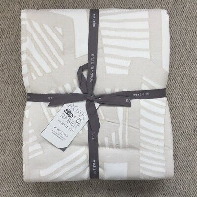 West Elm Roar Rabbit Organic Bold & Fine Jacquard Duvet Cover Queen Stone White
