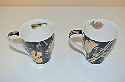 Pair Of Dunoon Bone China Mugs In The Tempo Design By Jane Fern