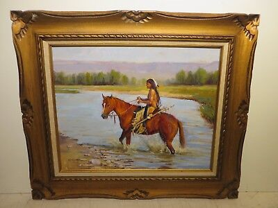"16x20 Org. Oil Painting On Board By Rick Kennington Of ""crossing The Cheyanne"""