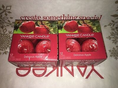 2x Delicious Apple Yankee Candle Tea Lights Tealights - Brand New Genuine