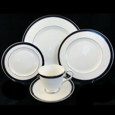 Federal Cobalt Platinum By Lenox 5 Piece Place Setting New Never Used Made Usa