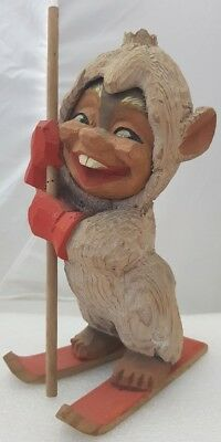 "Vintage Wood Carved 4"" Henning Figurine Norway Gnome Troll  Red Skis Sled 8.7"""