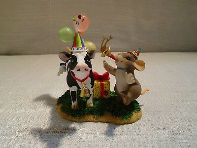 Charming Tails Party Til The Cows Come Home 89/198 Mouse Birthday New In Box