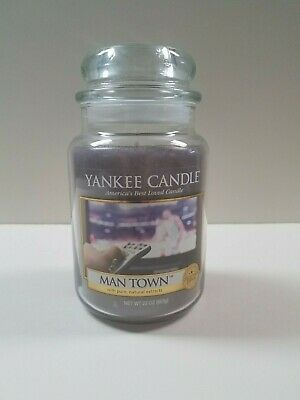 Yankee Candle Man Town 22oz Jar Man Cave Collection Retired Rare Never Burned!