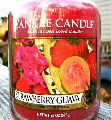 """Yankee Candle Retired """"strawberry Guava""""~ Large 22 Oz ~ White Label~ Rare~ New"""