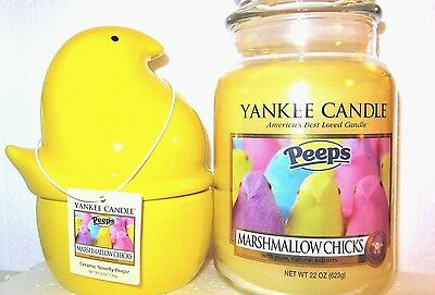 "Yankee Candle ""marshmallow Chicks"" Peeps 22 Oz & Ceramic Peeps Chick ~ New"