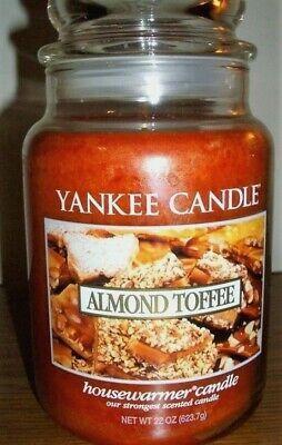 """Yankee Candle Retired """"almond Toffee""""~food~large 22 Oz ~ White Label~rare~new"""